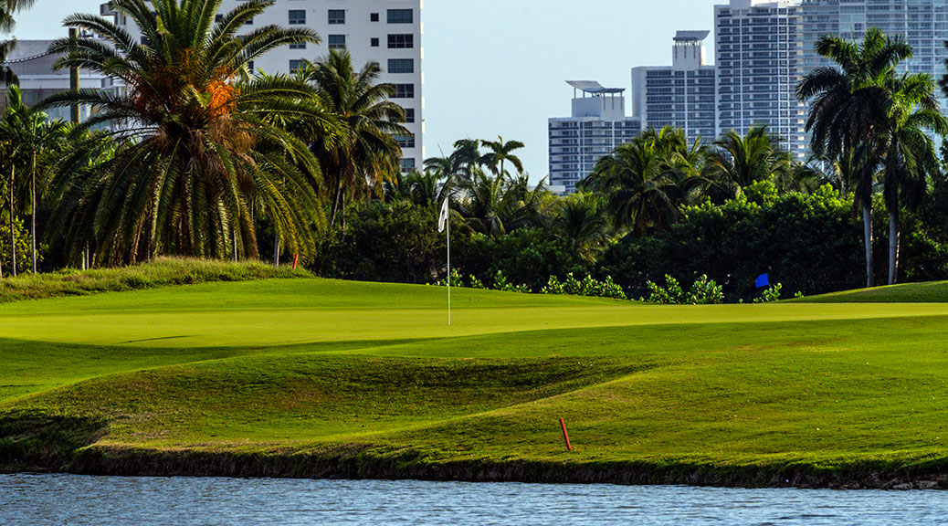 Hole 16 green at Miami Beach Golf Club