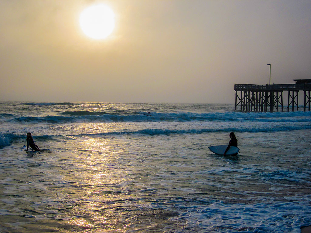 Surfers at St. Andrew State Park