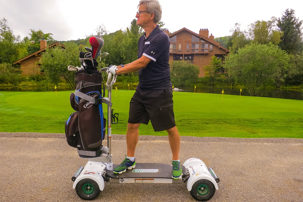 Riding the GolfBoard at Schuss Mountain