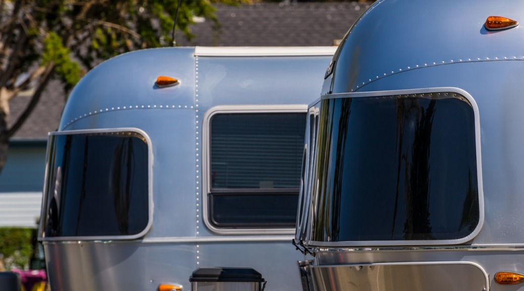 Tinted windows of Airstream Trailer