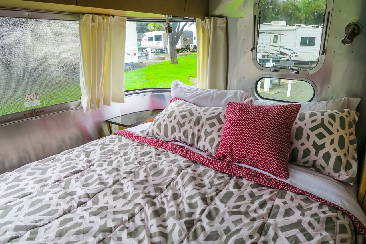 Queen-size bed in Airstream